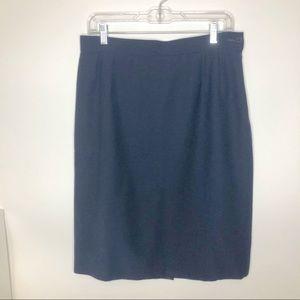 Yves Saint Laurent Blue Wool Pencil Skirt Vtg 12